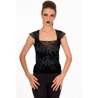 Top gothique Banned noir à motifs baroques, dentelle et ruban de satin