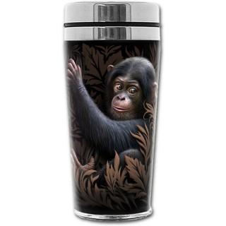Travel mug thermos avec bébé singe et feuillage marron