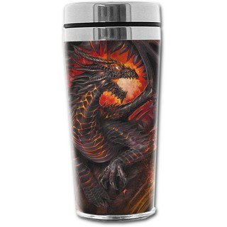 Travel mug thermos gothique avec dragon flamboyant