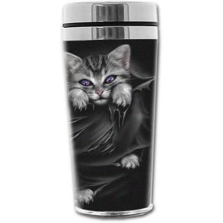 Travel mug thermos gothique à imprimé chat aux yeux violets
