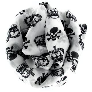 Très grand foulard blanc avec têtes de mort et couronnes