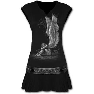 Tunique gothique noire sans manche avec ange sur pentagramme