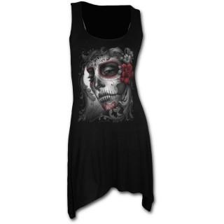 Tunique gothique noire sans manche avec femme masquée et roses