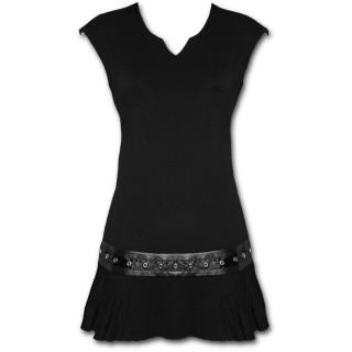 Tunique gothique noire sans manche à bande de cuir rivetée