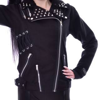 Veste femme goth-rock noir à spikes ROCKSTAR JACKET - Vixxsin