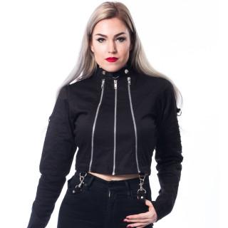 Veste femme goth-rock noir à zips GRAY JACKET - Chemical Black