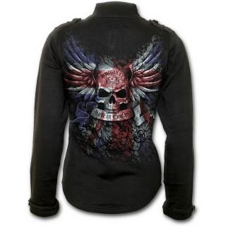 achat veste rock femme avec t te de mort sur drapeau union jack pas cher. Black Bedroom Furniture Sets. Home Design Ideas