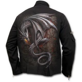 Veste gothique homme avec dragon gris sur lave craquelée