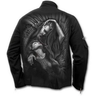 Veste gothique homme avec pieu, lit de roses, vampire et sa victime