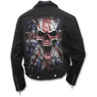 achat veste rock homme avec t te de mort sur drapeau union jack pas cher. Black Bedroom Furniture Sets. Home Design Ideas