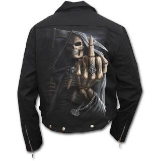 Veste homme coupe biker avec la Mort faisant un fuck